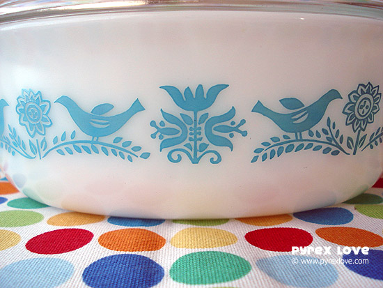 Pyrex Love - Bluebird Casserole Closeup